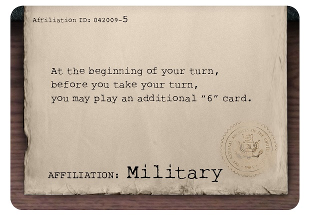 Paranormal Investigation: Military Affiliation Card