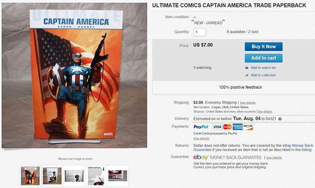 Screen Shot of Death Ray Comics Ebay Page