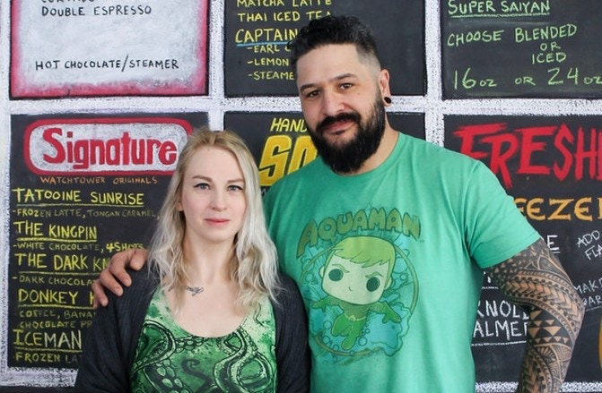 Cori and Mike, Owners of Watchtower Coffee & Comics